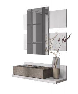 Mobile ingresso moderno con specchio e cassetto da appendere bianco e frassino - Specchio ingresso moderno ...