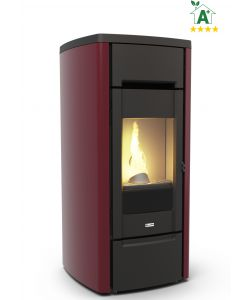 STUFA A PELLET CANALIZZATA IN GHISA 'CAST IRON 10C' BORDEAUX - CANADIAN STOVE.