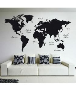 STICKER MURALE GIANT 'BLACK WORLD MAP', 280x100 CM